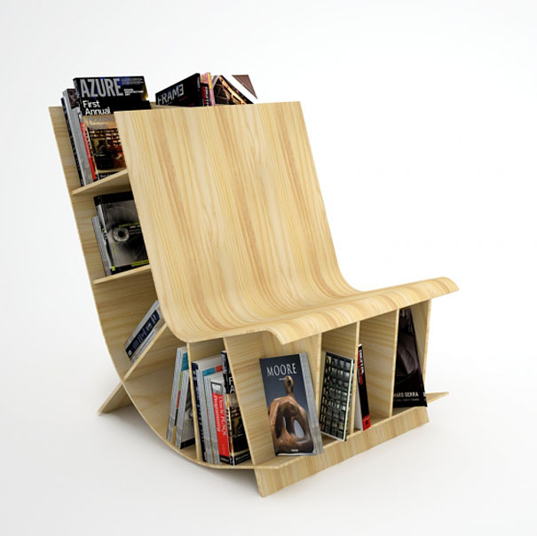 Bookseat-creative-bookshelves 40 Unusual and Creative Bookcases