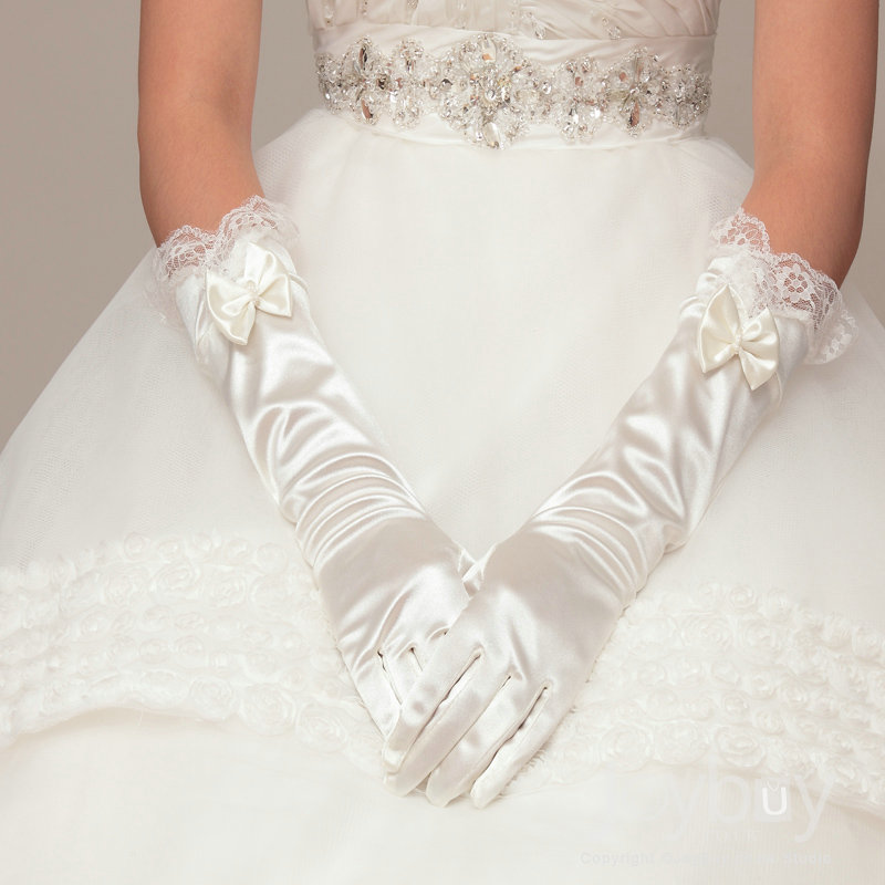Cheap_Bow_Wedding_Gloves_Full_Finger15487290665_5419495182687883 35 Elegant Design Of Bridal Gloves And Tips On Wearing It In Your Wedding