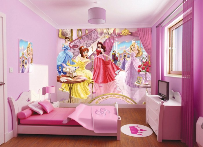 Children-Room-Wallpaper-with-Princess-Themes Create A Colorful Atmosphere In Your Kids Room By Wallpaper