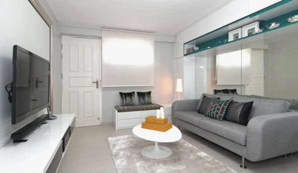 Cool-Living-Room-Design-with-Large-LCD-and-Grey-Sofa +20 Modern Ideas For Living Rooms Designs
