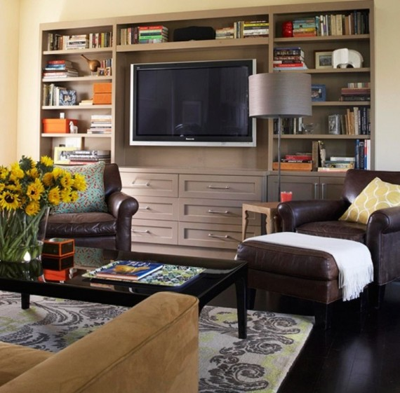 Creative-Bookshelf-for-TV-Stand-570x561 26 Of The Most Creative Bookshelves Designs