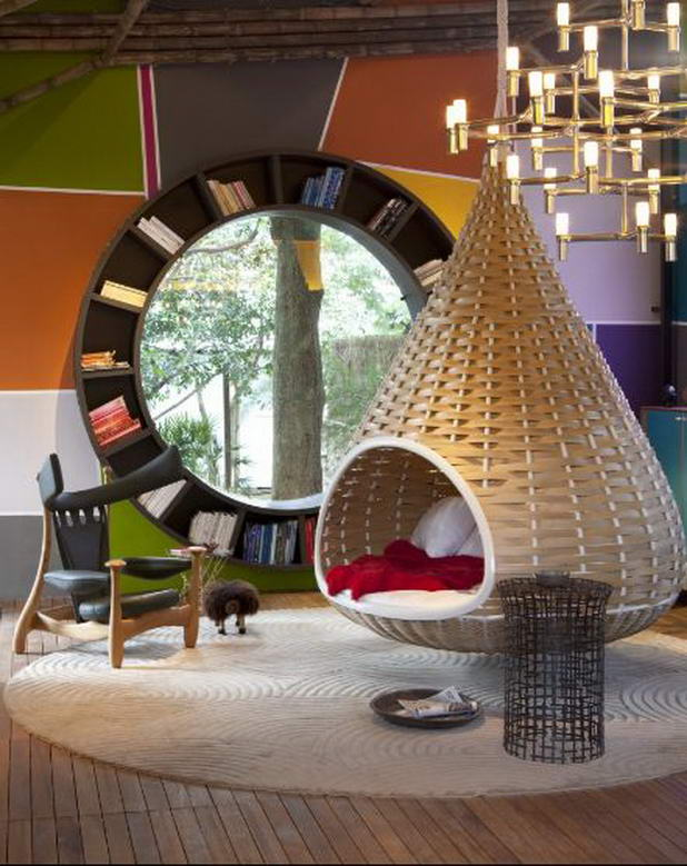 Creative-Circle-Bookshelf-Idea-Design-Unique-Hanging-Bed-Futuristic-Chandelier 40 Unusual and Creative Bookcases