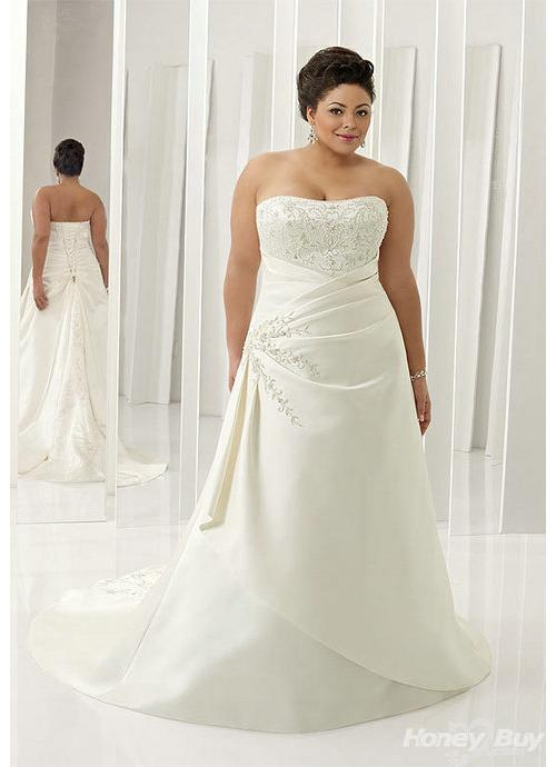 Embroidery_Ruched_Satin_Royal_White_Plus_Size_Bridal_Dresses_2013__1__12070708121968916_690X500 Tips To Choose The Perfect Plus Size Bridal Dress...