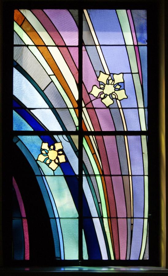 Krakow_Medical_Society_house_stained_glass_window_R_design_by_Stanisław_Wyspiański_4_Radziwillowska_street_Krakow_Poland Window Design Ideas For Your House