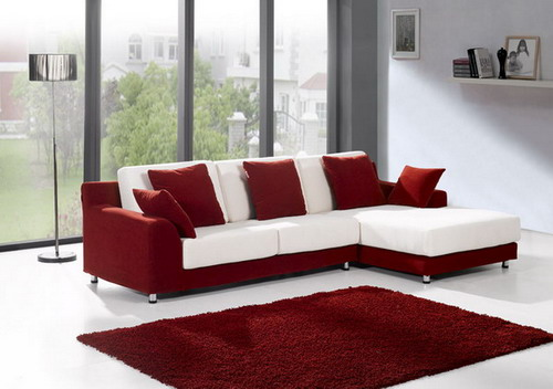 Luxury White And Red Small Sectional Sofa Living Room Furniture Images