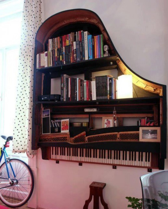 Old-Piano-for-Creative-Ideas-Bookshelf-Design-570x708 26 Of The Most Creative Bookshelves Designs
