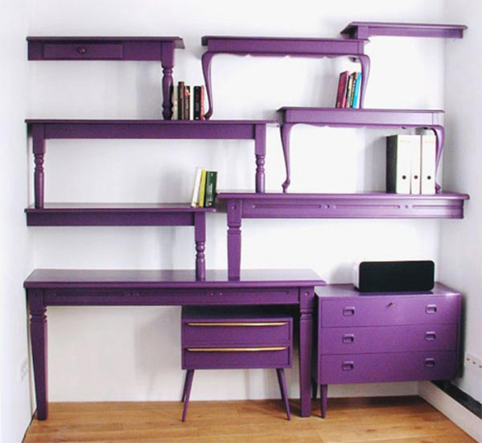 Purple-bookcase-comes-with-unique-shape-and-purple-color 40 Unusual and Creative Bookcases