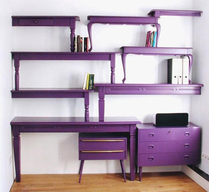 Purple-bookcase-comes-with-unique-shape-and-purple-color 40 Unusual and Creative Bookcases