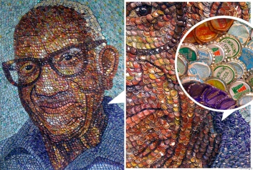 Recycled-bottle-cap-art 12 Impressive Art Works Made From Recycled Materials