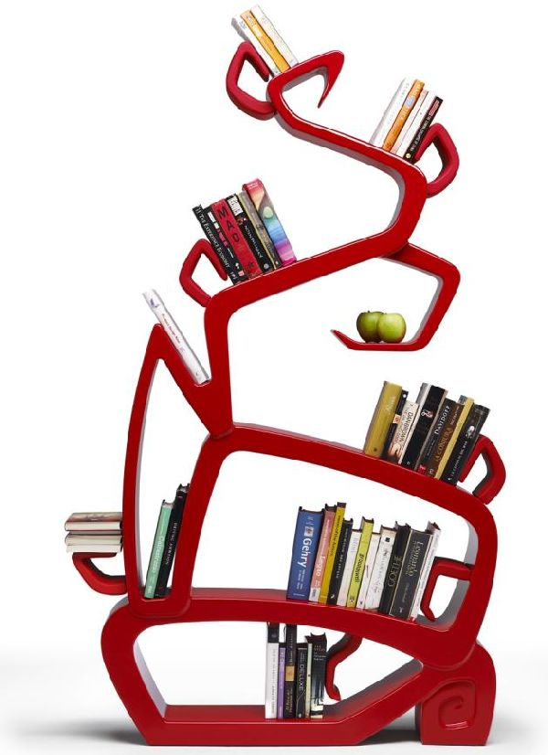 Red-tree-bookcase-design 40 Unusual and Creative Bookcases