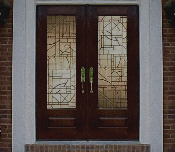 Rustic-Brick-Wall-Frosted-Glass-Front-Doors-Home-Design 23 Designs To Choose From When Deciding On A Front Door