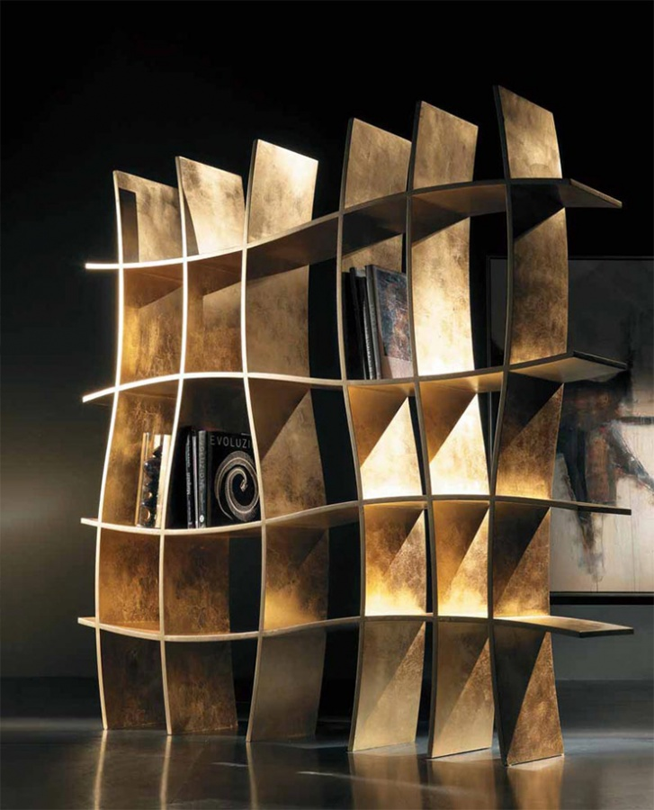 Sherwood-Contemporary-Curved-Bookcase 40 Unusual and Creative Bookcases