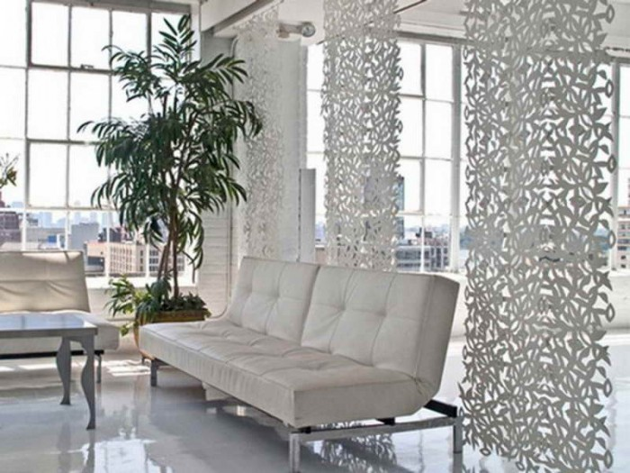 Sotto-Retro-Chic-Hanging-Room-Divider-with-white-sofa 11 Tips on Mixing Antique and Modern Décor Styles