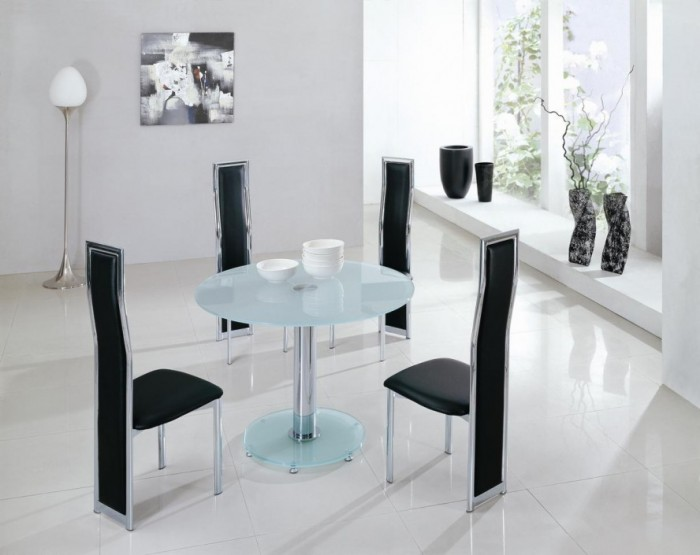 Stunning-Contemporary-Dining-Tables-Modern-Black-White-Marble-Floor-888x705 45 Most Stylish and Contemporary Dining rooms