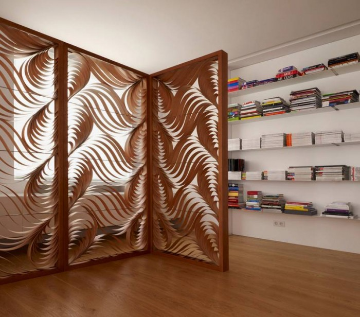 Stylish-and-Modern-Room-Divider-with-Curvy-Shapes-Pattern 40 Most Amazing Room Dividers