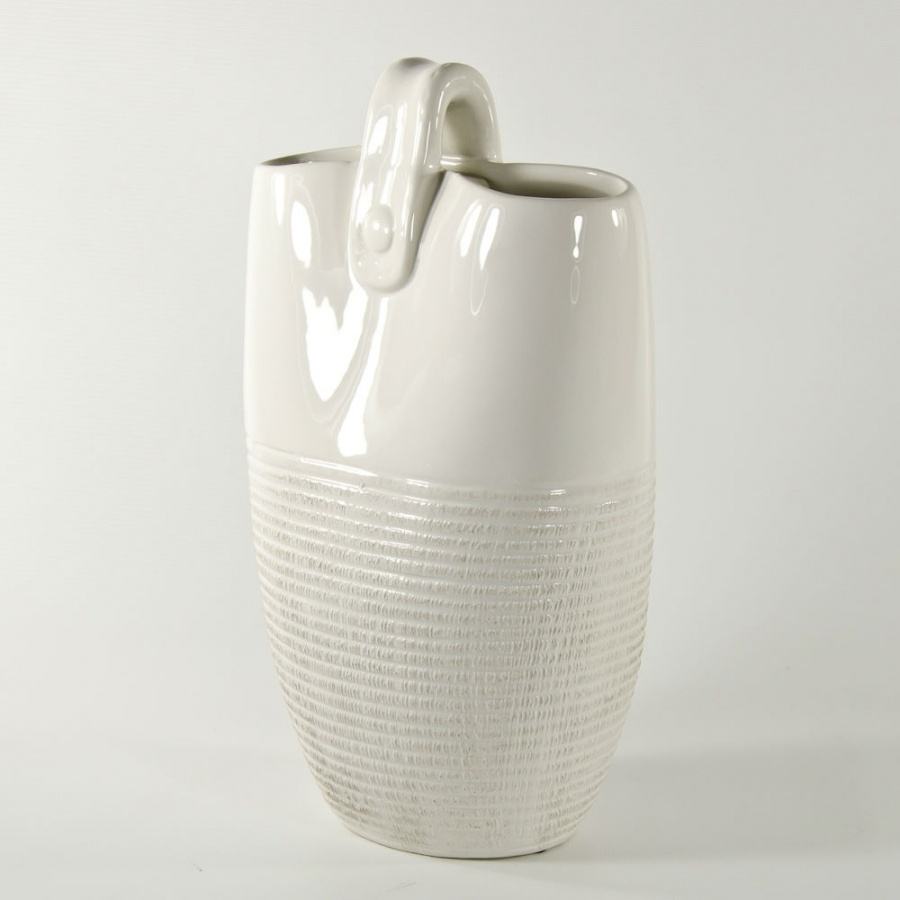 Tote-Bag-Ceramic-Vase-with-Handle-White-12x7x4-68475-Side-View 35 Designs Of Ceramic Vases For Your Home Decoration