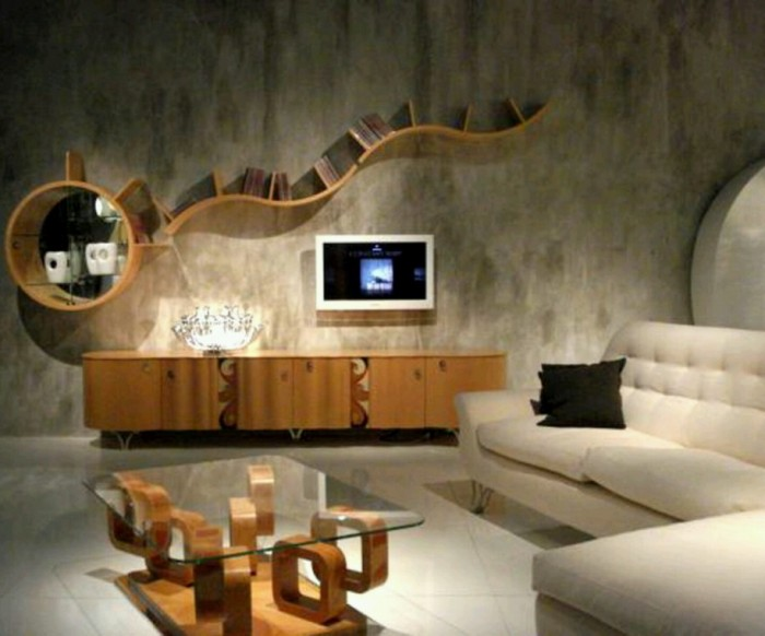 Unique-Bookcase-Wood-Sideboard-White-Sofa-Living-Room 40 Unusual and Creative Bookcases