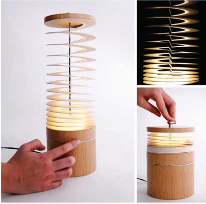 Unique-Curly-Sue-Spiral-Desk-Lamp-Design-with-a-bamboo-shaped-spring 30 Most Creative and Unusual lamp Designs