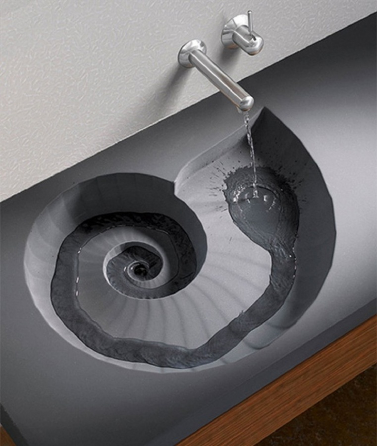 Unique-and-Creative-Spiral-faucet 40 Catchy and Dazzling Bathroom Sinks