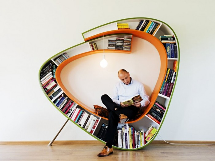 Unusual-Bookshelf-Idea-Design-Bulb-Light-Laminate-Flooring 40 Unusual and Creative Bookcases