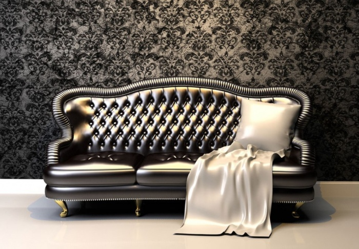 Wallpaper-and-retro-sofa-for-living-room Tips On Choosing Wall Papers For Your Living Room