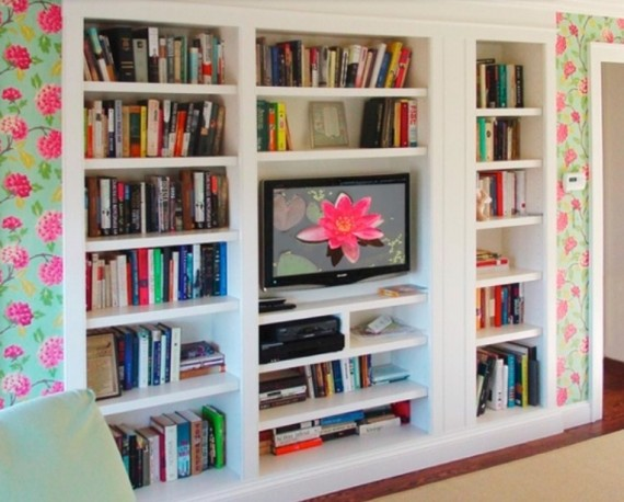 White-Bookshelf-for-TVStand-570x458 26 Of The Most Creative Bookshelves Designs