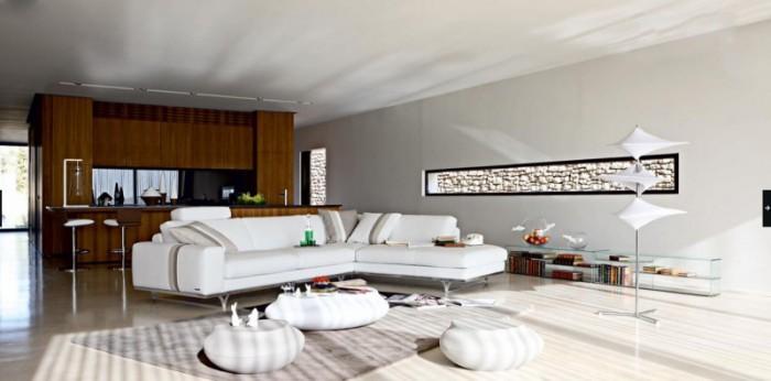 White-Corner-Sleeper-Sofa-Beds-in-Modern-Living-Room-Designs-by-Roche-Bobois-800x396 +20 Modern Ideas For LivingRooms Designs