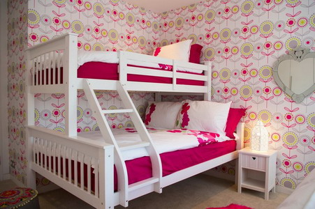 White-and-Pink-Corner-Bunk-Beds-Sets-with-Stairs-in-Small-Teenage-Bedroom-Design-Ideas1 Modern Ideas Of Room Designs For Teenage Girls