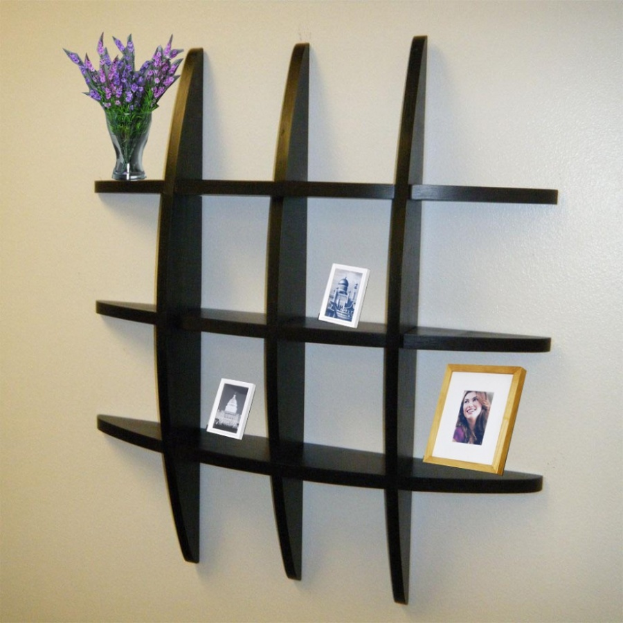 Wonderful-Living-Room-Wall-Shelves-with-Black-Wooden-Material 26 Of The Most Creative Bookshelves Designs
