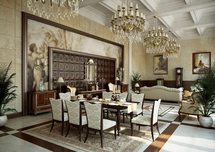 antique-modish-traditional-cream-gold-dining-room 45 Most Stylish and Contemporary Dining rooms