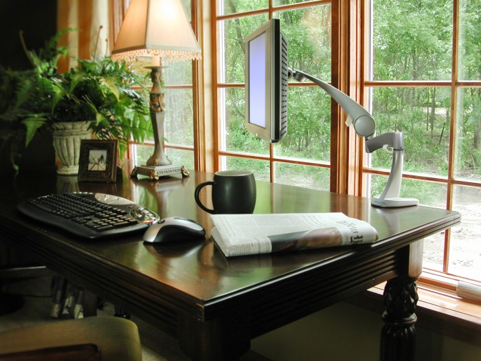 awesome-home-office-black-wooden-desk-floating-monitor-large-window-design Window Design Ideas For Your House