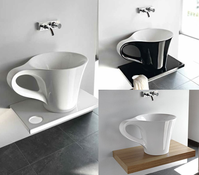 black-and-white-cup-basin-on-the-shelf- 40 Catchy and Dazzling Bathroom Sinks