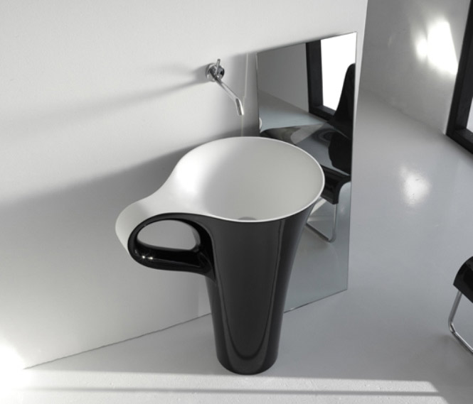 black-cup-basin-for-black-and-white-interior 40 Catchy and Dazzling Bathroom Sinks