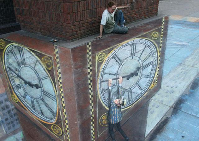 clock 26 Most Stunning 3D Street Art Paintings