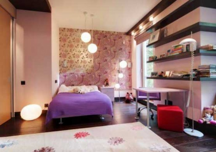 comfortable-and-wonderful-bedroom-design-for-young-women-with-purple-linen-and-simple-wall-shelving-bedroom-ideas-for-young-women2 Modern Ideas Of Room Designs For Teenage Girls