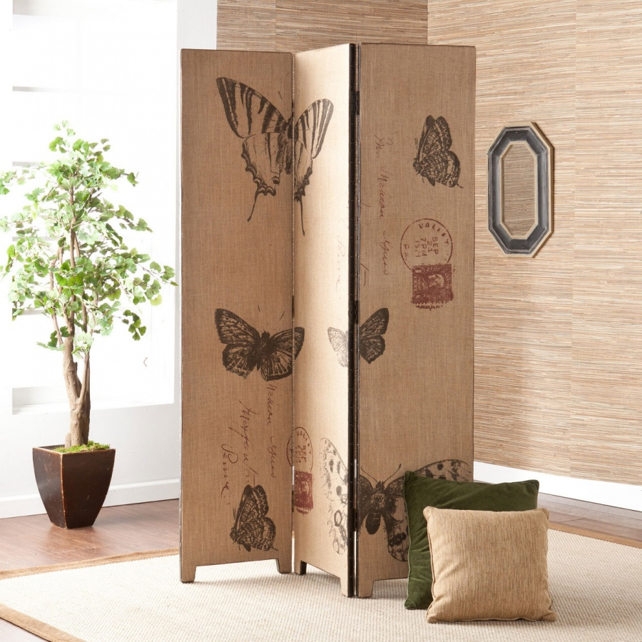 decorative-room-divider-with-butterfly-pattern-panel 11 Tips on Mixing Antique and Modern Décor Styles
