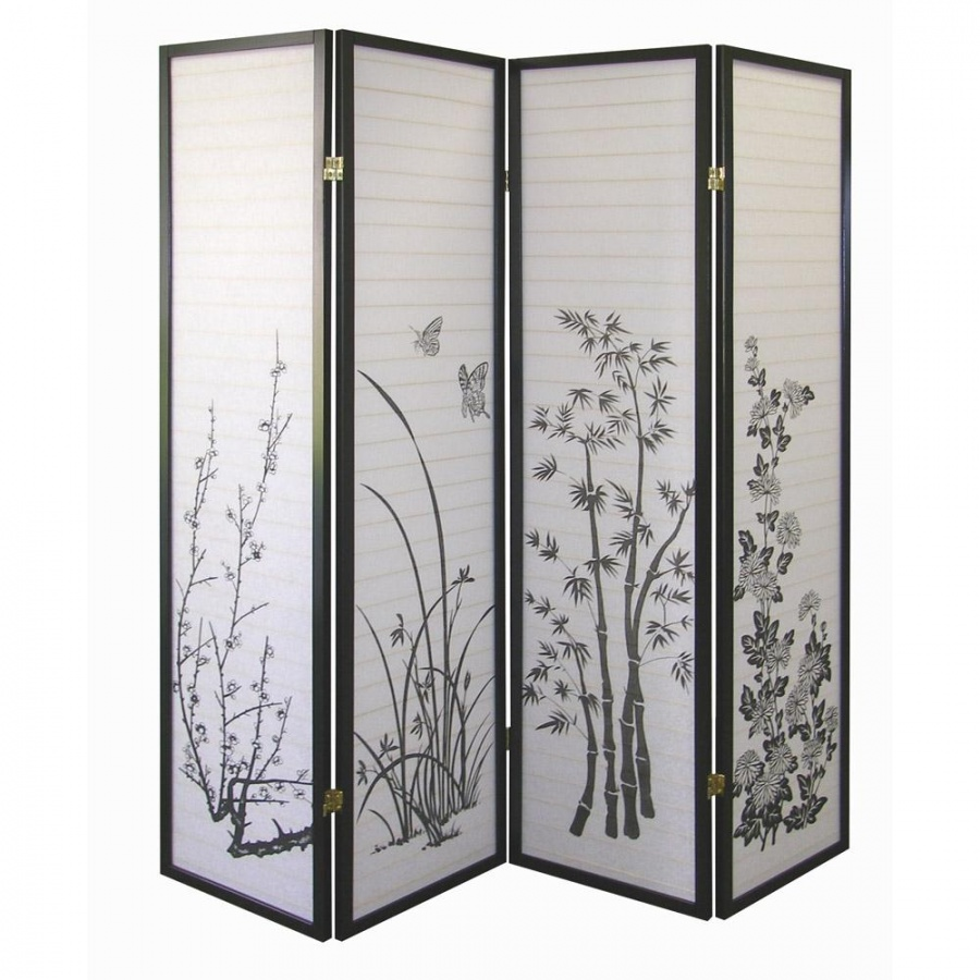 floral_4_panel_room_divider 40 Most Amazing Room Dividers