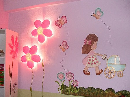 Fantastic designs of lighting and lamps for kids 39 rooms for Children wall mural ideas