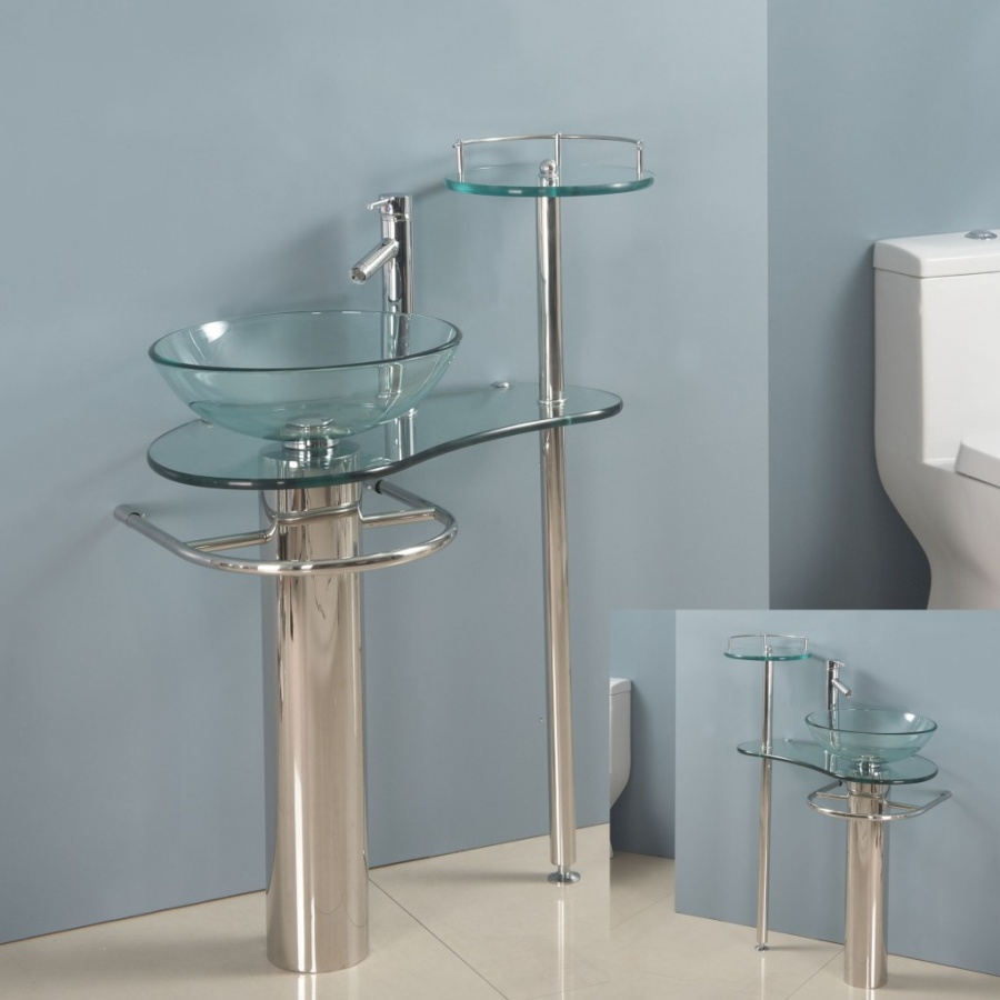 glass-sink-supported-on-towel-bar 40 Catchy and Dazzling Bathroom Sinks