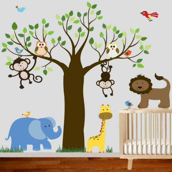jungle-inspired-kids-room-4-554x554 Create A Colorful Atmosphere In Your Kids Room By Wallpaper