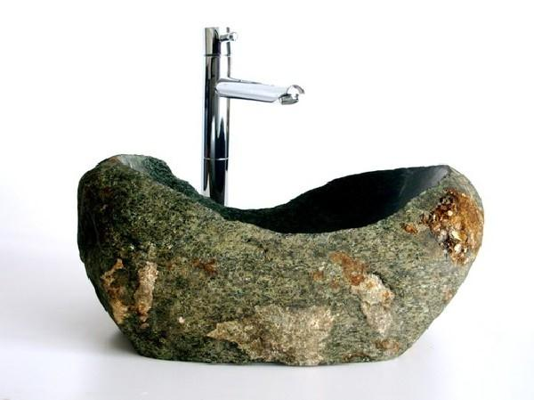 make-natural-and-fresh-bathroom-with-unique-Stone-Sink-ideas 40 Catchy and Dazzling Bathroom Sinks