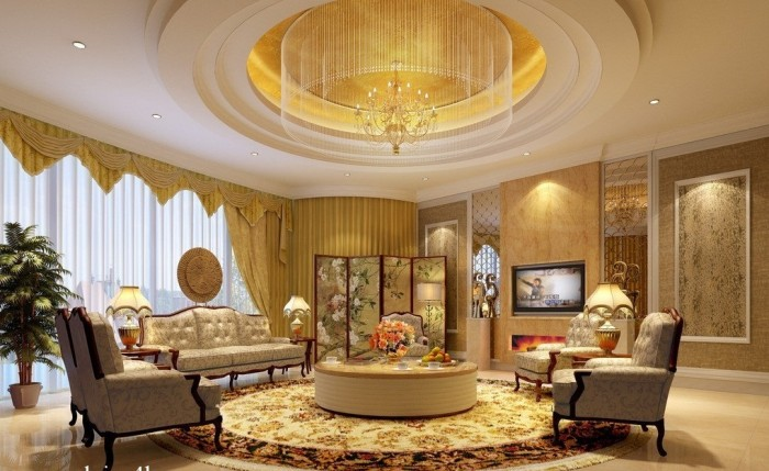 modern-round-pop-ceilings-design-for-living-room-with-sofa-sets1 Fantastic Ceiling Designs For Your Home