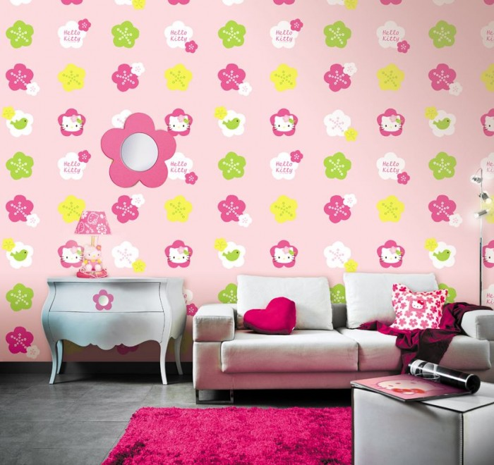 pretty-retro-wallpaper-design-hello-kitty-pink-color-combination-girls-room-decor-bold-flowery-kids Create A Colorful Atmosphere In Your Kids Room By Wallpaper
