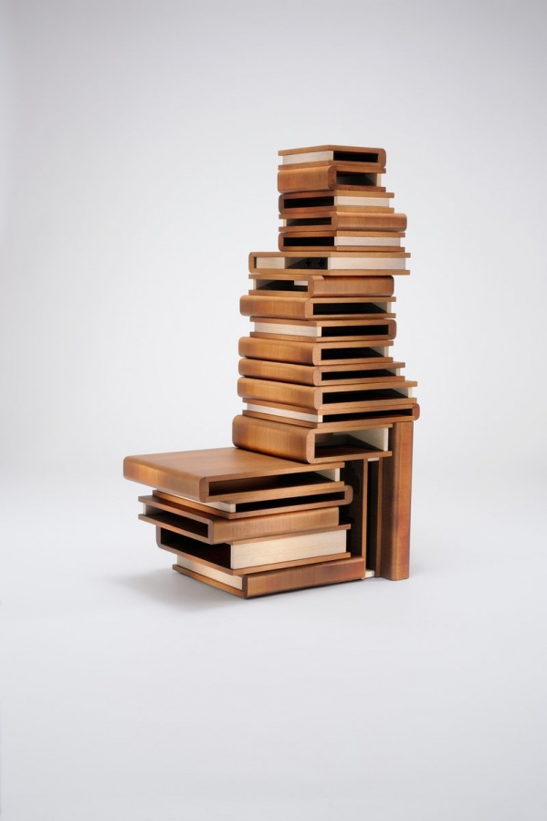 vivid-unique-bookcase-books-pile 40 Unusual and Creative Bookcases