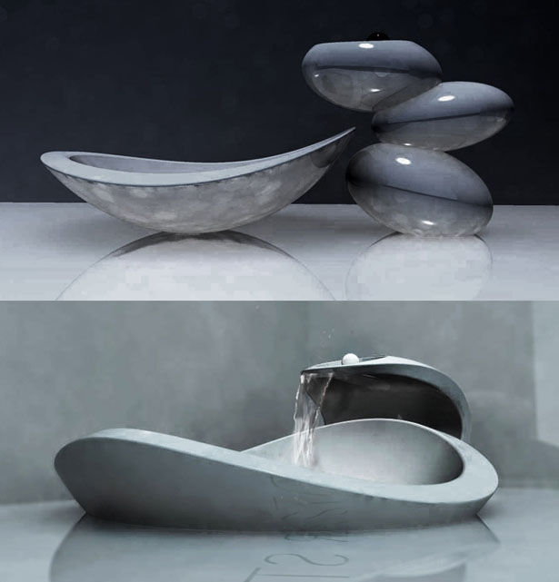 water-stone-faucet-and-sink3 40 Catchy and Dazzling Bathroom Sinks