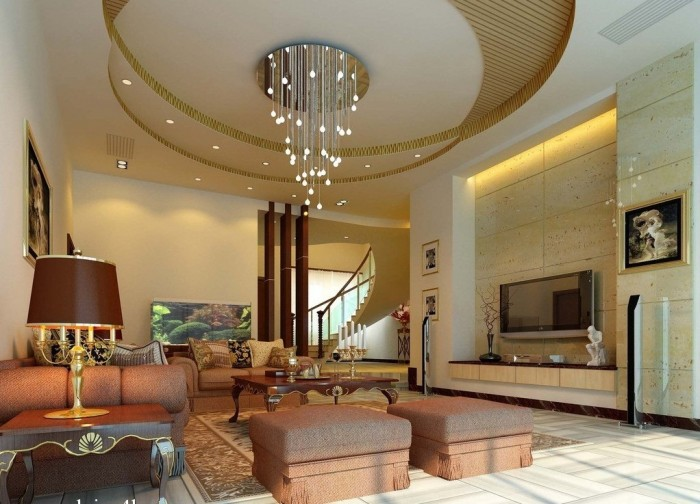 white-brown-round-pop-ceilings-living-room-with-amazing-design1 Fantastic Ceiling Designs For Your Home