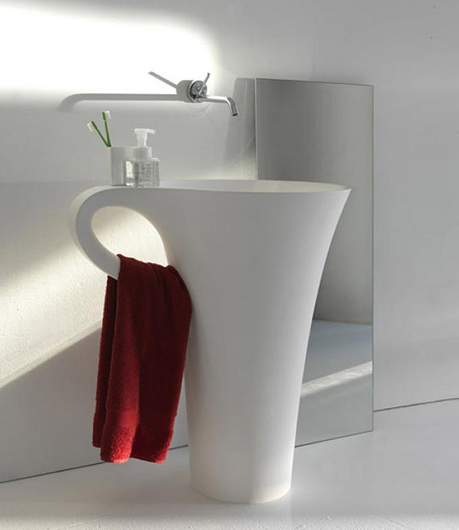 white-cup-basin-design-with-integrated-towel-hook 40 Catchy and Dazzling Bathroom Sinks