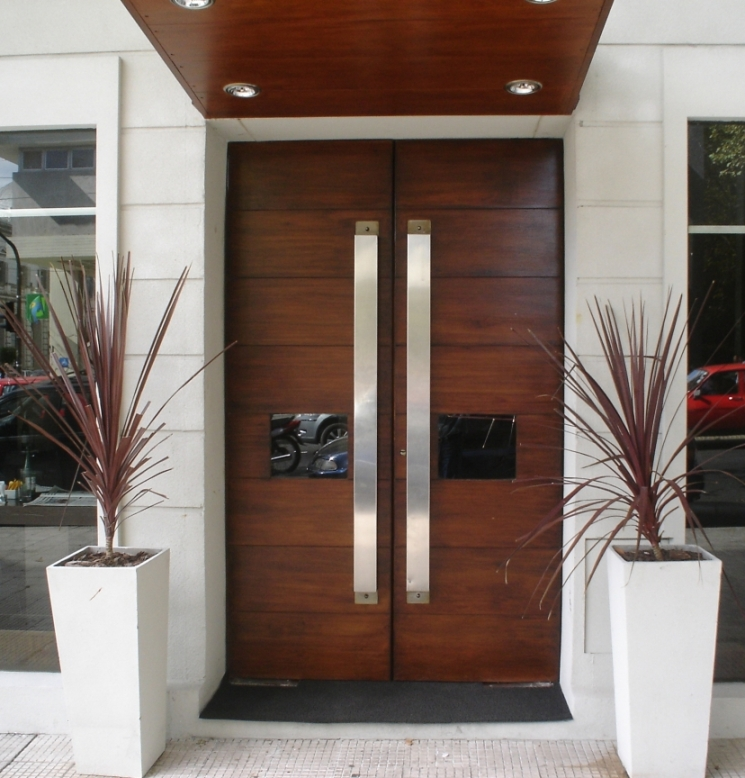 2-Modern-Wood-Front-Doors-Double-and-Single-with-a-Side-Mirror It Is Not Just a Front Door, It Is a Gate