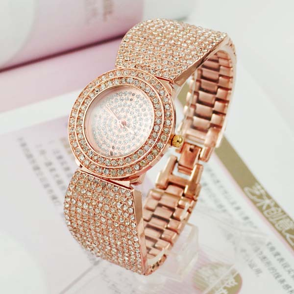 2013-Luxury-Fashion-Ladies-Round-Dial-Rose-Gold-Rhinestone-Diamond-Quartz-Watch-Women-Watches-Free-Shipping 24 Most Luxury Watches For Women And How To Choose The Perfect One?!