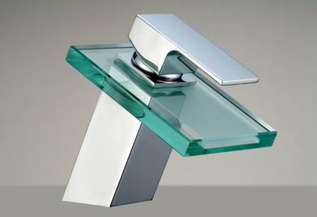Bathroom_glass_waterfall_faucet_28608 32 Creative Sink Faucets In Contemporary And Modern Designs